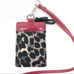 Coach Lanyard / ID Holder red & leopard print